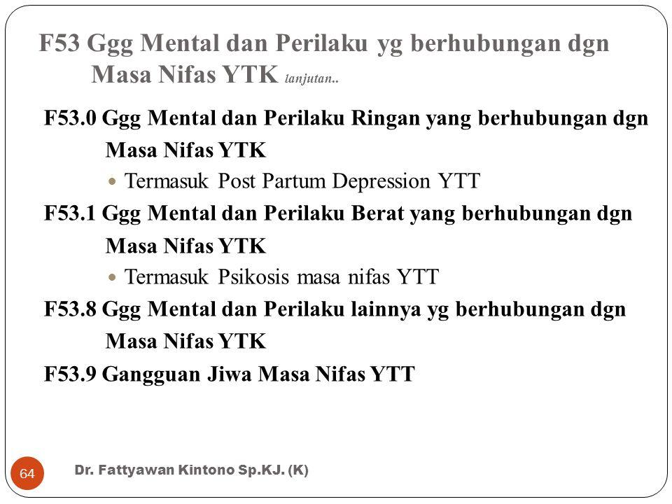 F53 Ggg Mental dan Perilaku yg berhubungan dgn Masa Nifas YTK lanjutan..
