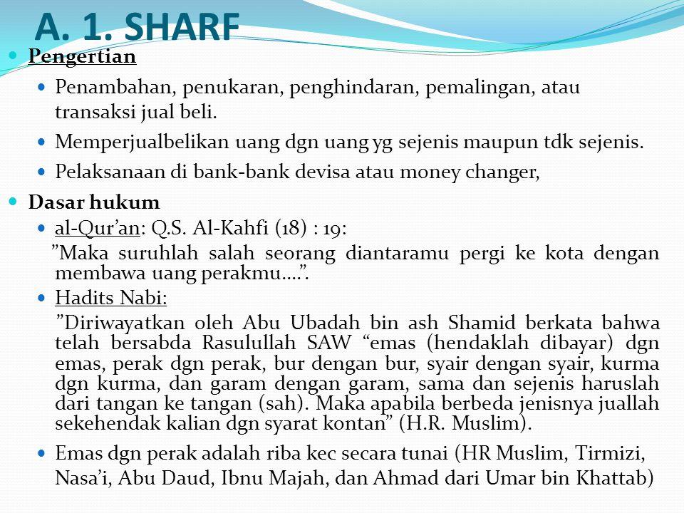 A. 1. SHARF Pengertian. Penambahan, penukaran, penghindaran, pemalingan, atau transaksi jual beli.
