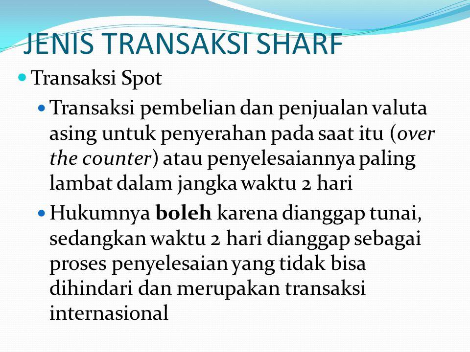 JENIS TRANSAKSI SHARF Transaksi Spot