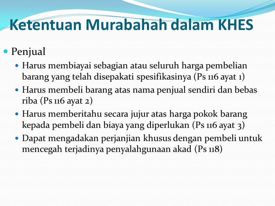 Ketentuan Murabahah dalam KHES