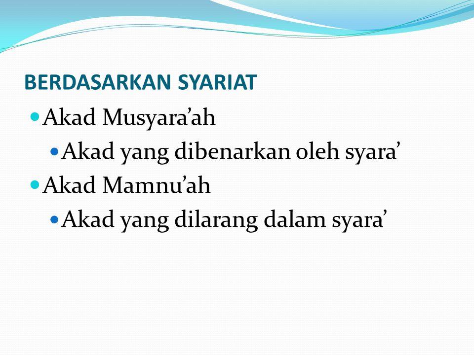 BERDASARKAN SYARIAT Akad Musyara'ah. Akad yang dibenarkan oleh syara' Akad Mamnu'ah.