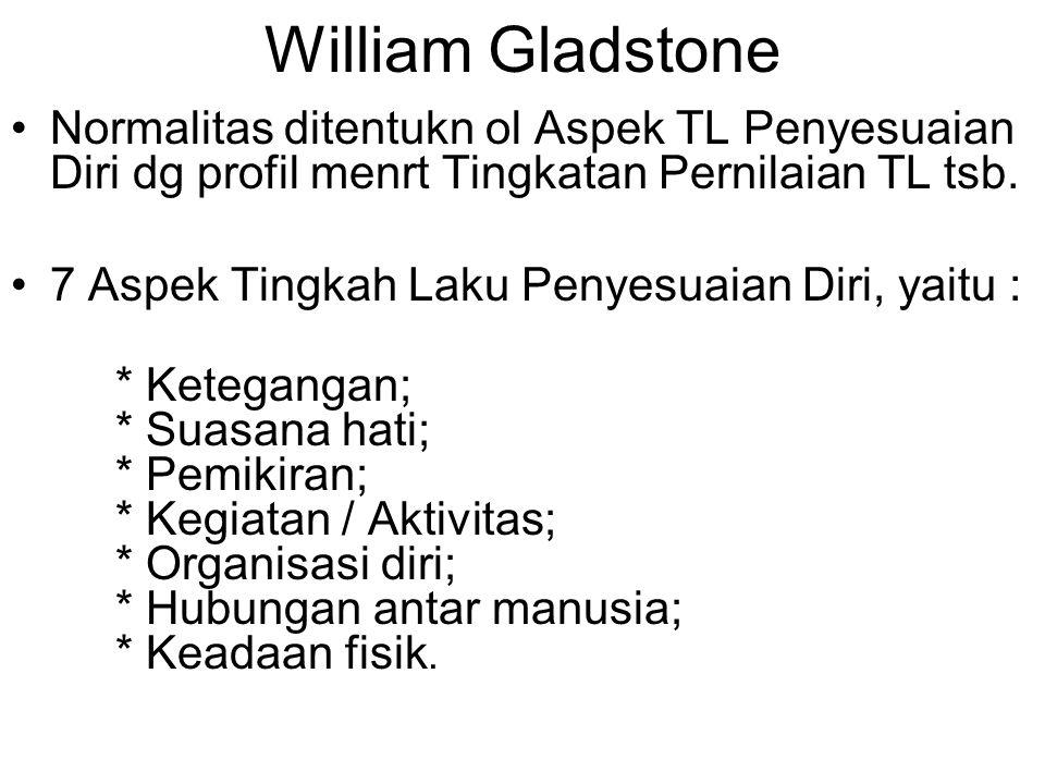 William Gladstone Normalitas ditentukn ol Aspek TL Penyesuaian Diri dg profil menrt Tingkatan Pernilaian TL tsb.
