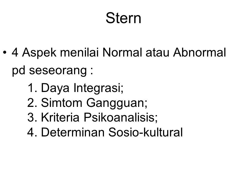 Stern 4 Aspek menilai Normal atau Abnormal pd seseorang :