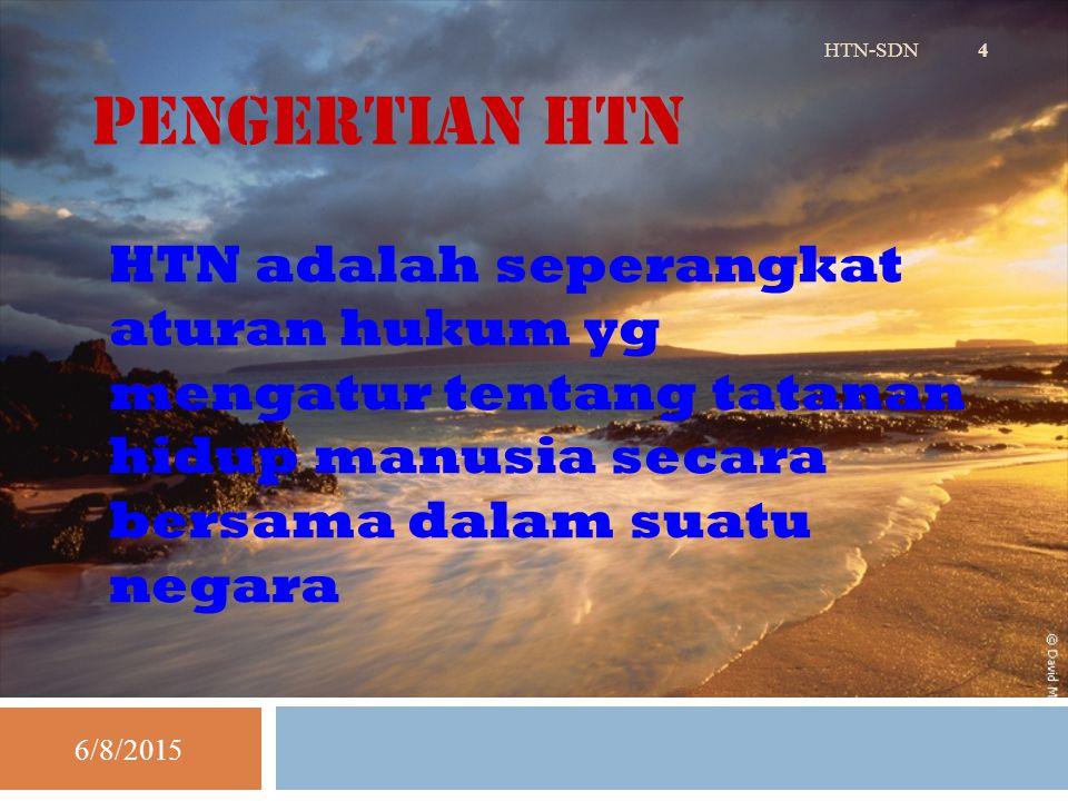Pengertian HTN HTN-SDN. HTN adalah seperangkat aturan hukum yg mengatur tentang tatanan hidup manusia secara bersama dalam suatu negara.