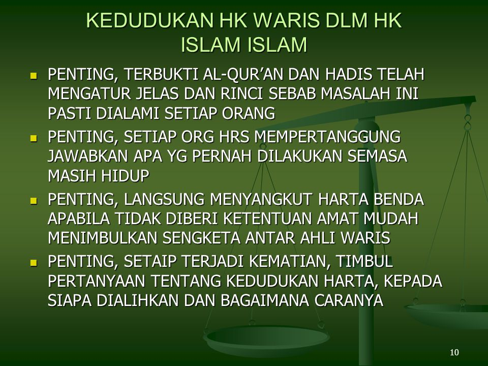 KEDUDUKAN HK WARIS DLM HK ISLAM ISLAM