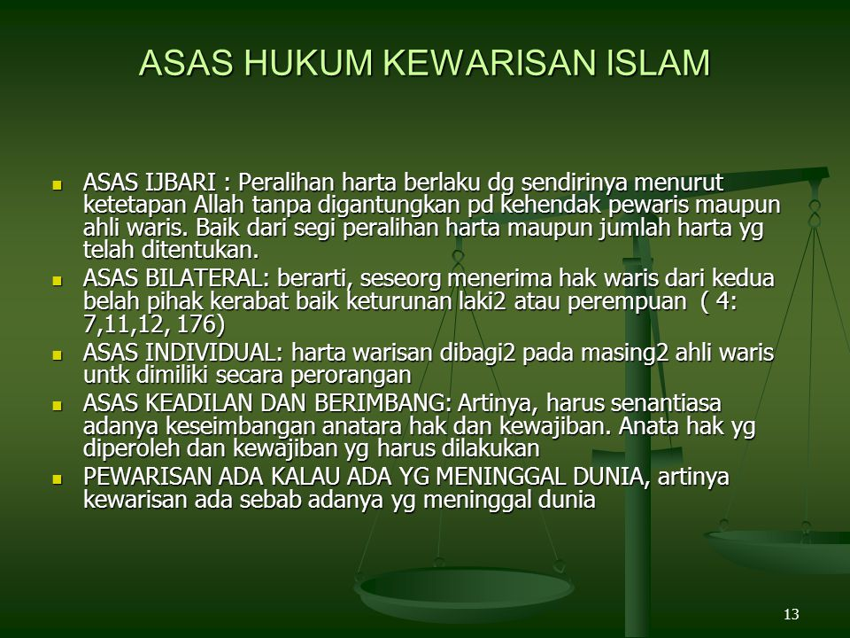 ASAS HUKUM KEWARISAN ISLAM