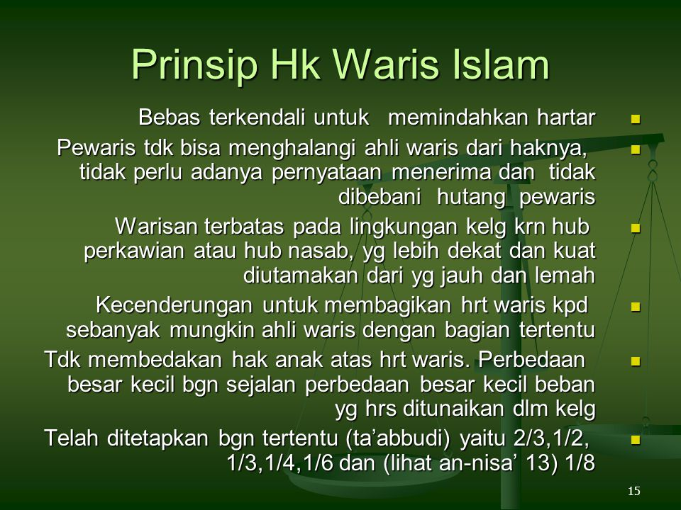 Prinsip Hk Waris Islam Bebas terkendali untuk memindahkan hartar