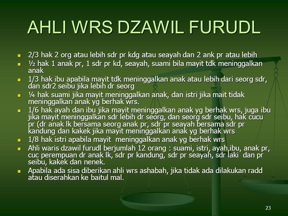 AHLI WRS DZAWIL FURUDL 2/3 hak 2 org atau lebih sdr pr kdg atau seayah dan 2 ank pr atau lebih.