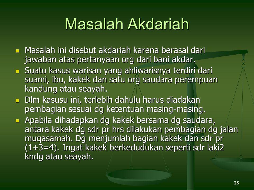 Masalah Akdariah Masalah ini disebut akdariah karena berasal dari jawaban atas pertanyaan org dari bani akdar.