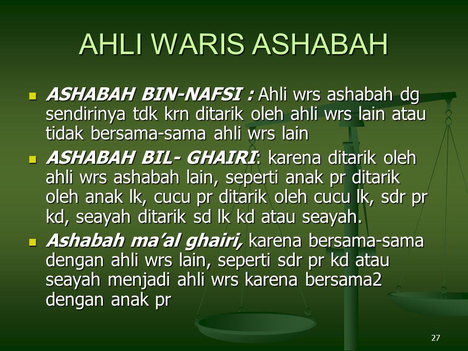 AHLI WARIS ASHABAH ASHABAH BIN-NAFSI : Ahli wrs ashabah dg sendirinya tdk krn ditarik oleh ahli wrs lain atau tidak bersama-sama ahli wrs lain.