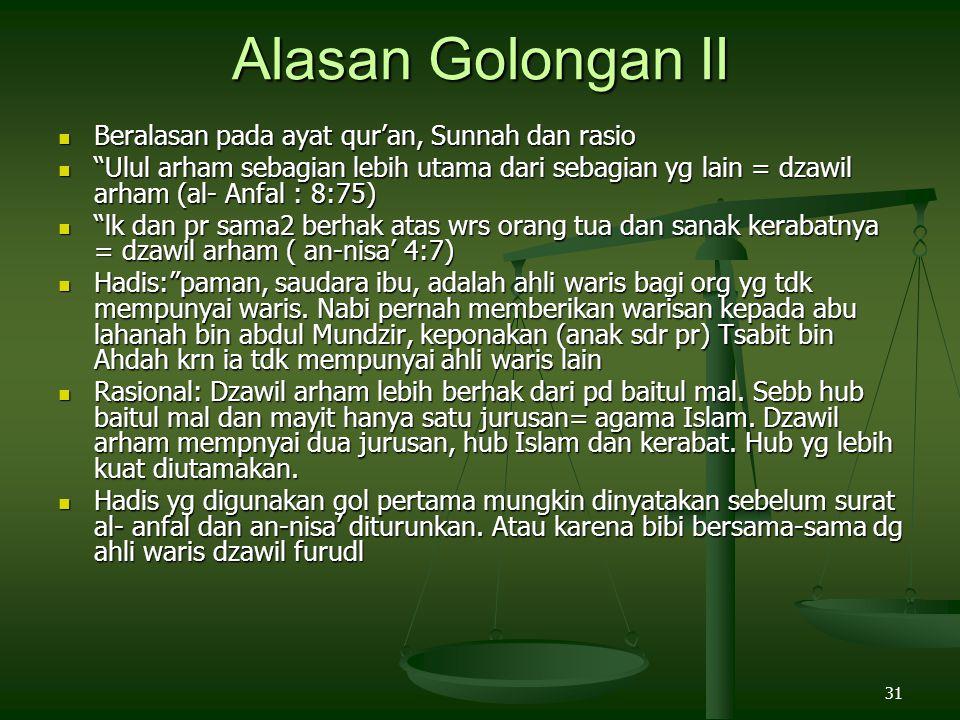 Alasan Golongan II Beralasan pada ayat qur'an, Sunnah dan rasio
