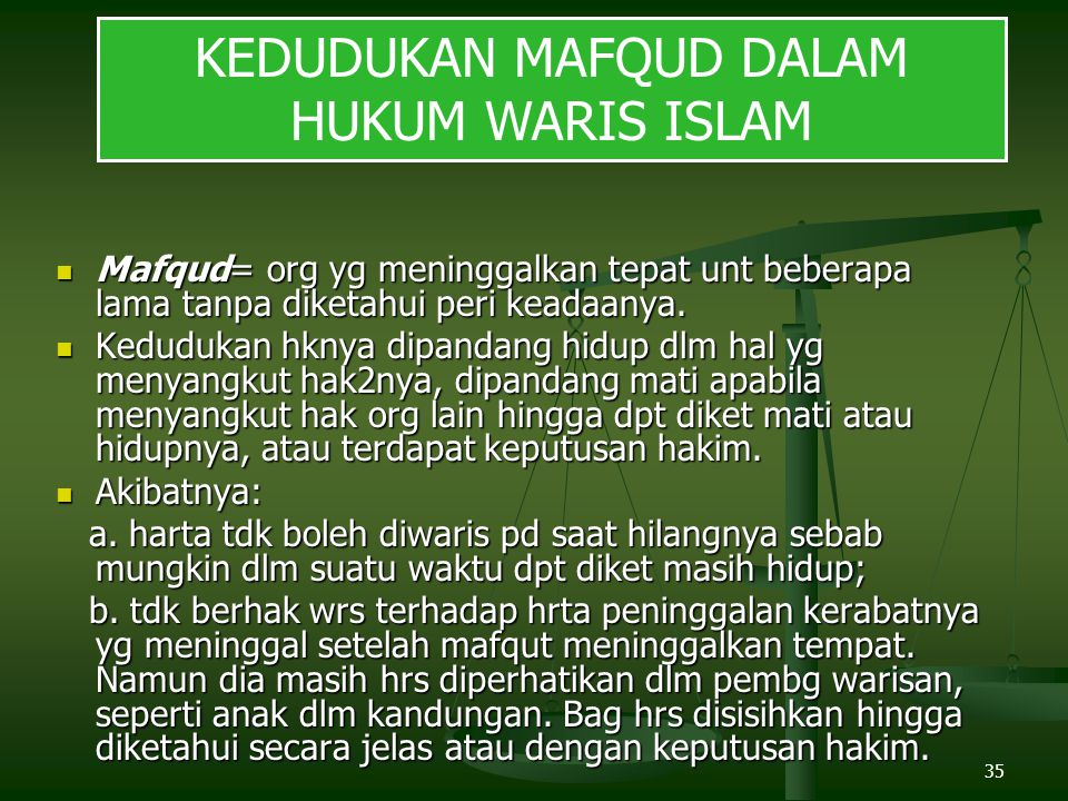 KEDUDUKAN MAFQUD DALAM HUKUM WARIS ISLAM