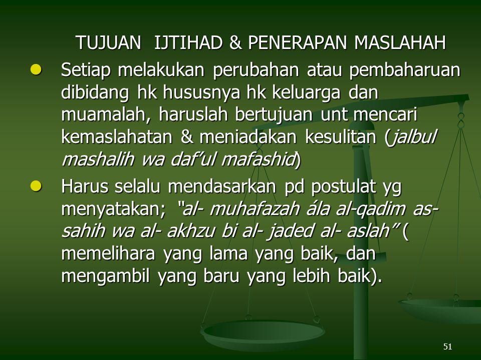 TUJUAN IJTIHAD & PENERAPAN MASLAHAH