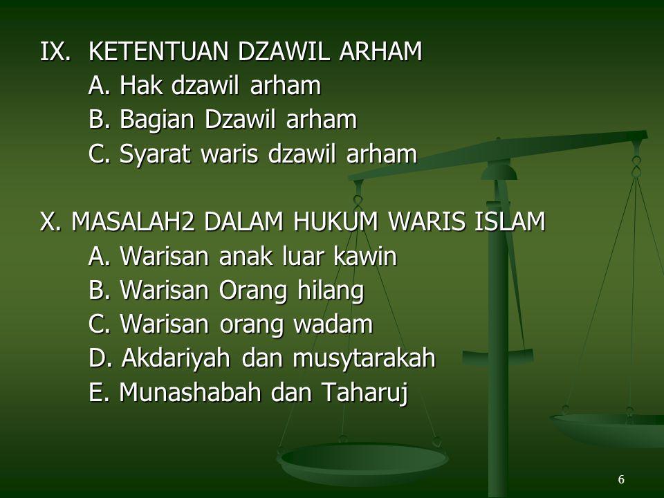 IX. KETENTUAN DZAWIL ARHAM