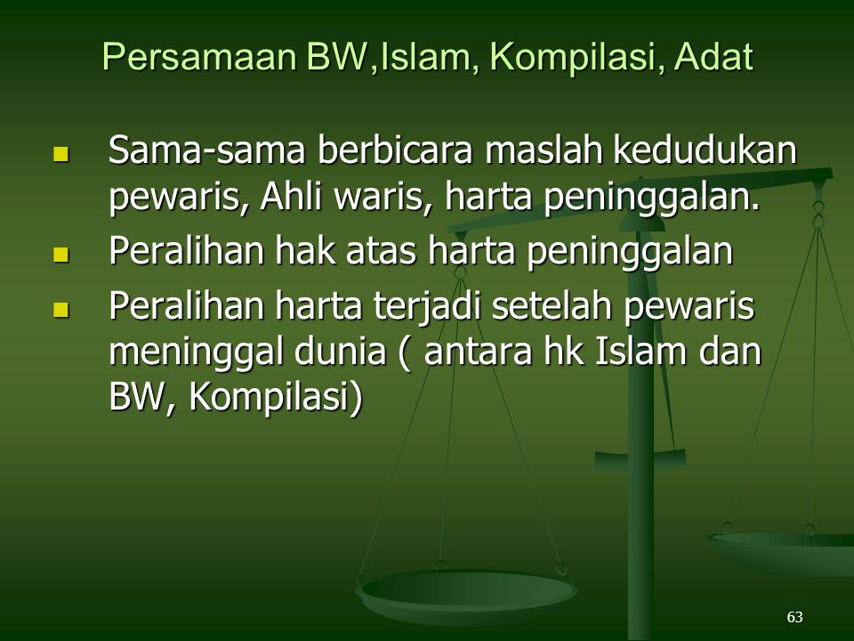 Persamaan BW,Islam, Kompilasi, Adat