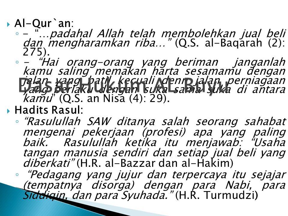 Dasar Hukum AL Buyu Al-Qur`an: