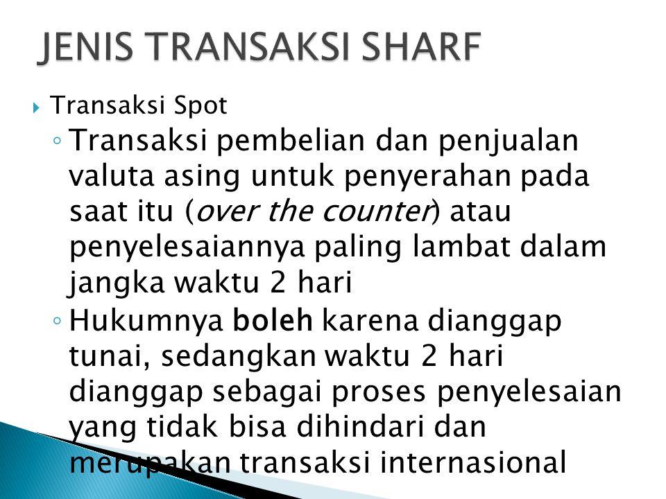 JENIS TRANSAKSI SHARF Transaksi Spot.
