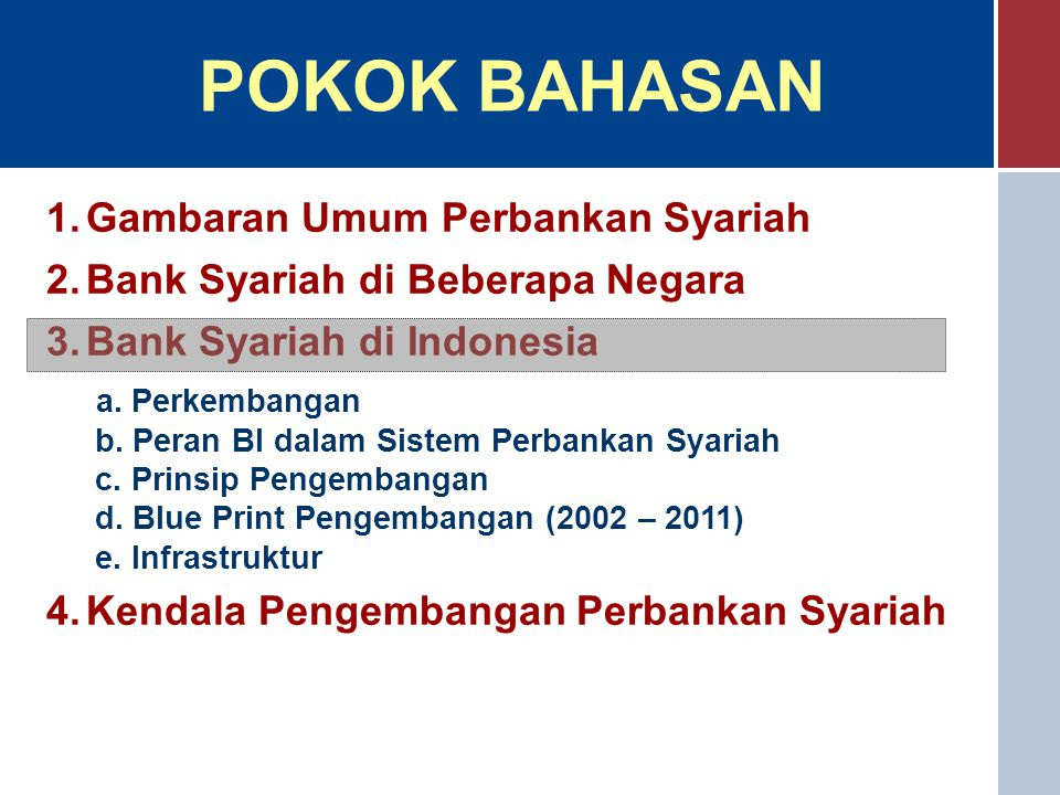 POKOK BAHASAN Gambaran Umum Perbankan Syariah