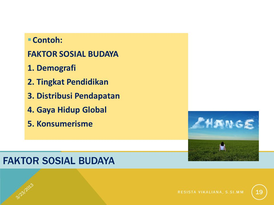 Faktor sosial budaya Contoh: FAKTOR SOSIAL BUDAYA 1. Demografi