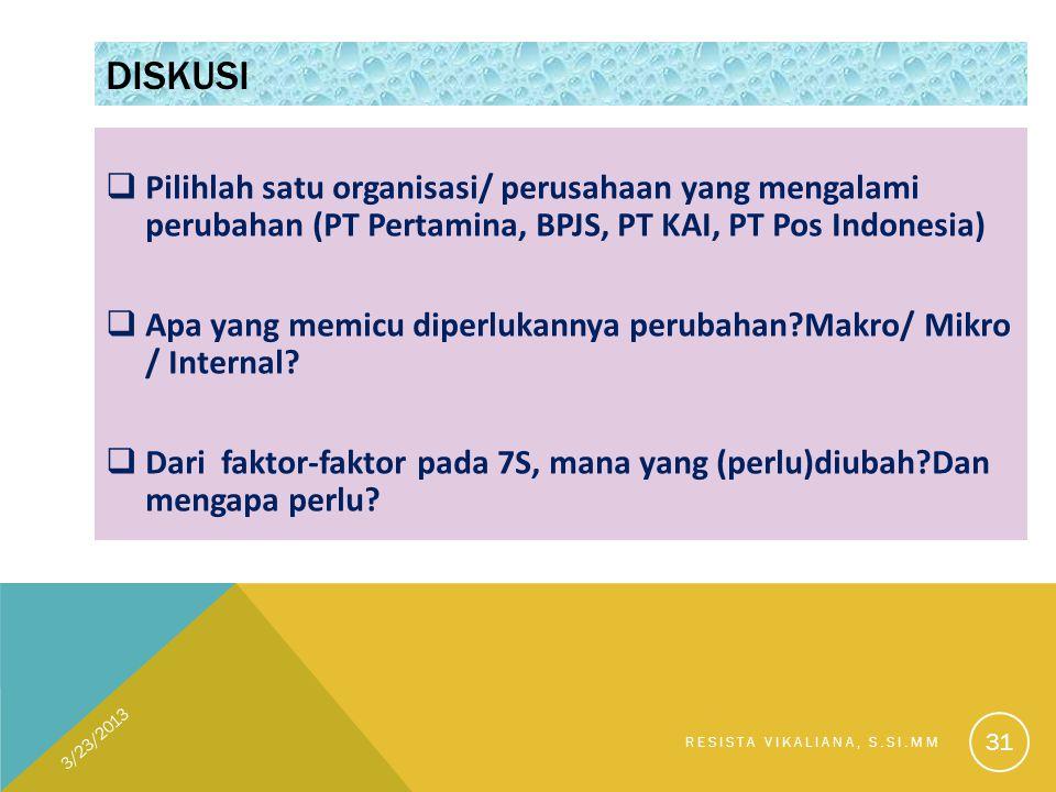 Diskusi Pilihlah satu organisasi/ perusahaan yang mengalami perubahan (PT Pertamina, BPJS, PT KAI, PT Pos Indonesia)