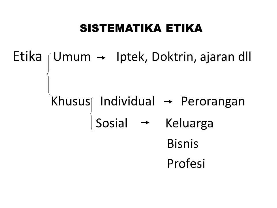 Etika Umum Iptek, Doktrin, ajaran dll Khusus Individual Perorangan