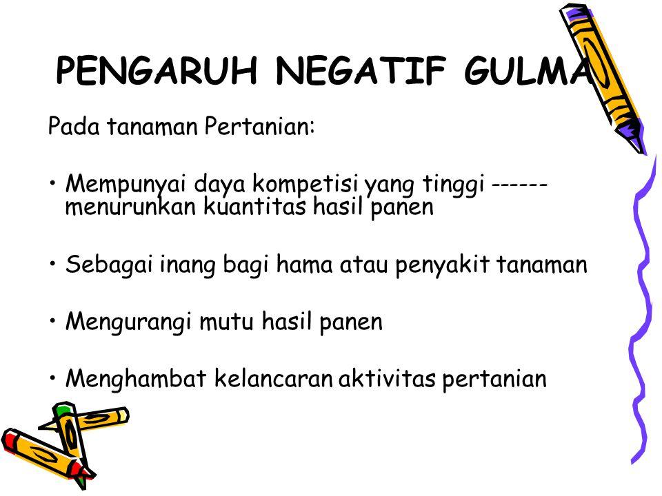 PENGARUH NEGATIF GULMA