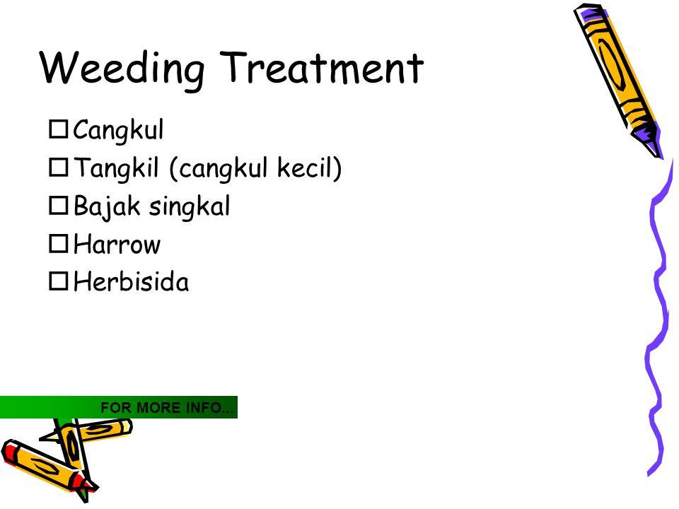 Weeding Treatment Cangkul Tangkil (cangkul kecil) Bajak singkal Harrow