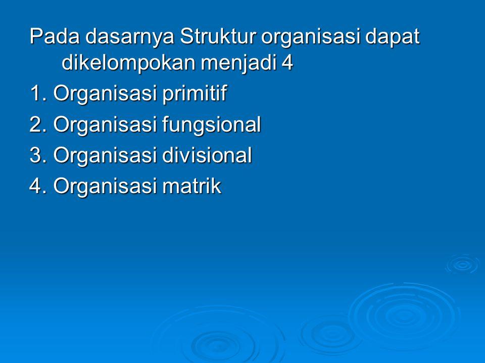 Pada dasarnya Struktur organisasi dapat dikelompokan menjadi 4