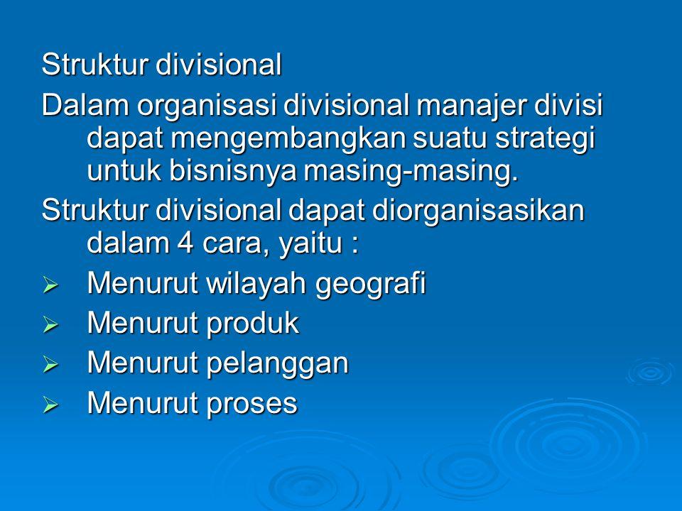 Struktur divisional Dalam organisasi divisional manajer divisi dapat mengembangkan suatu strategi untuk bisnisnya masing-masing.