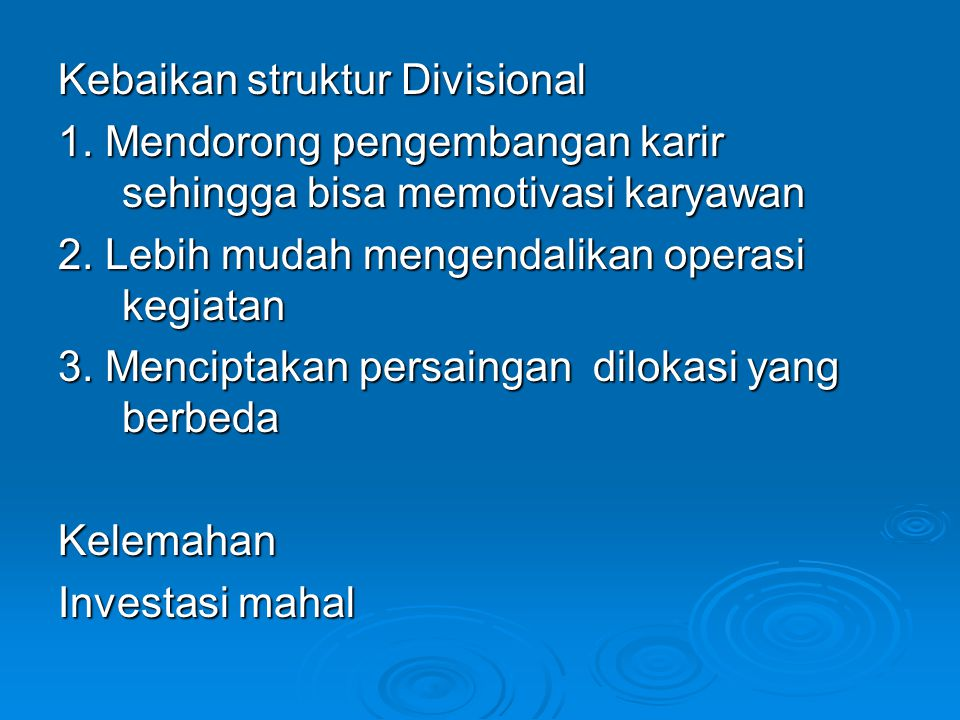 Kebaikan struktur Divisional