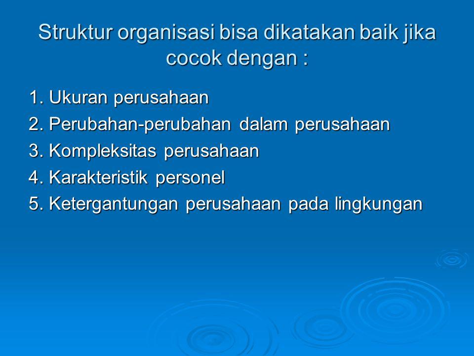 Struktur organisasi bisa dikatakan baik jika cocok dengan :