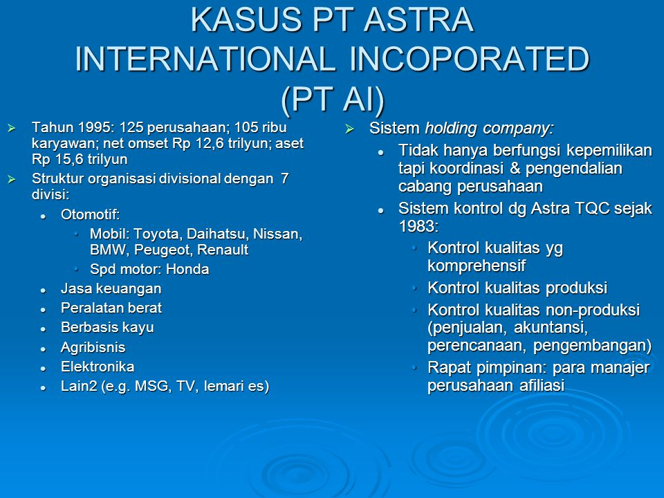 KASUS PT ASTRA INTERNATIONAL INCOPORATED (PT AI)