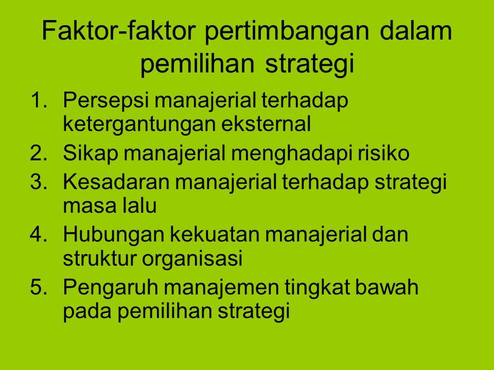 Faktor-faktor pertimbangan dalam pemilihan strategi