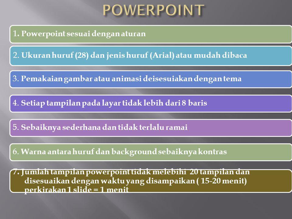 POWERPOINT 1. Powerpoint sesuai dengan aturan