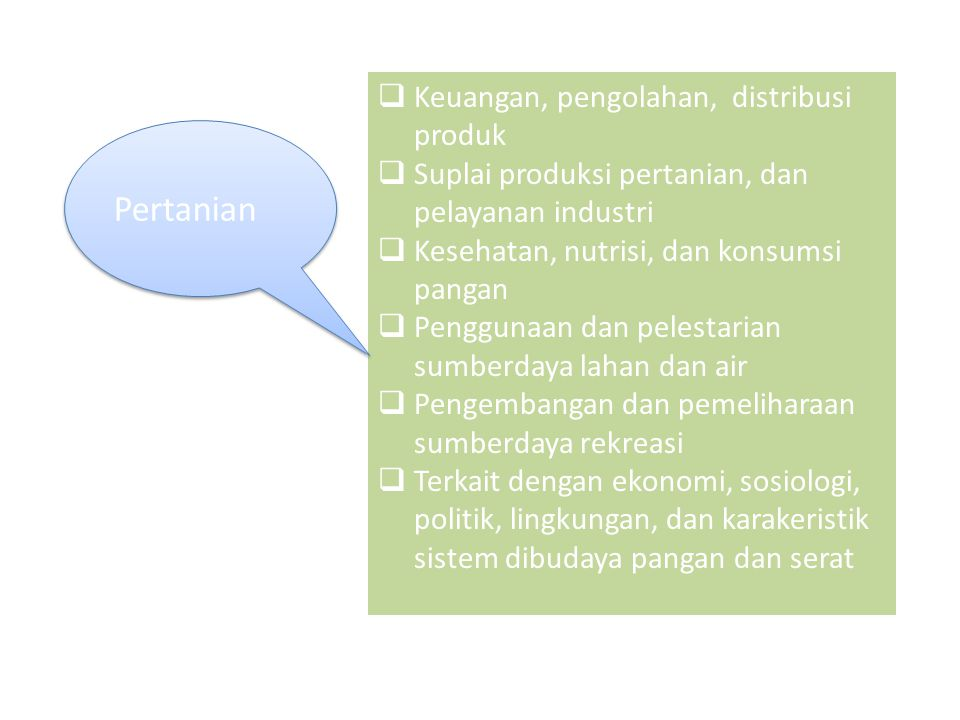 Pertanian Keuangan, pengolahan, distribusi produk