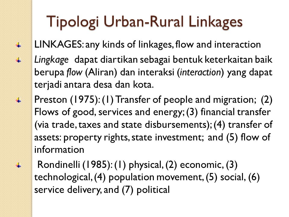 Tipologi Urban-Rural Linkages