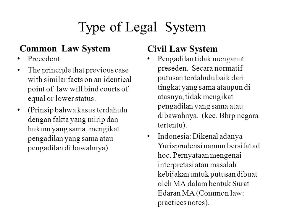 Type of Legal System Common Law System Civil Law System Precedent: