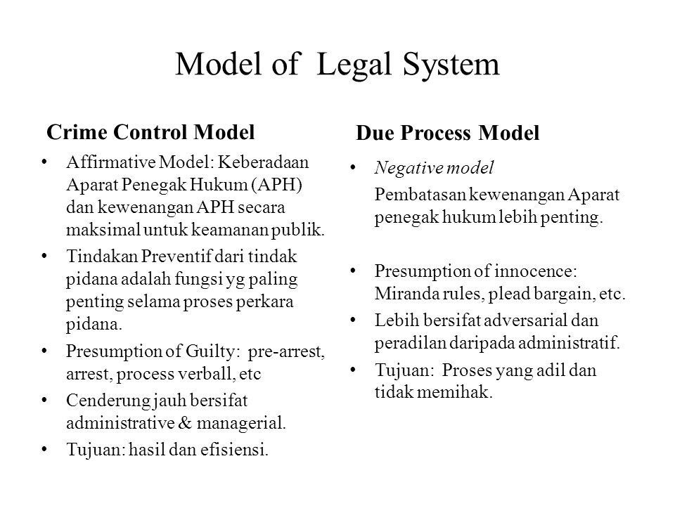 Model of Legal System Crime Control Model Due Process Model