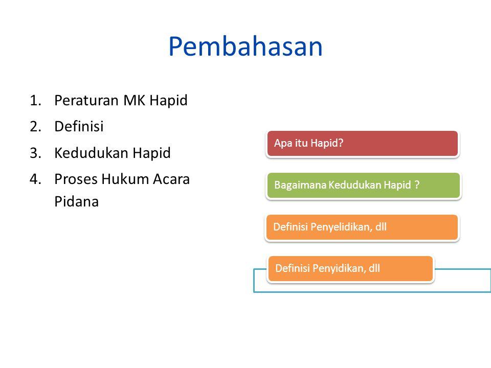 Pembahasan Peraturan MK Hapid Definisi Kedudukan Hapid
