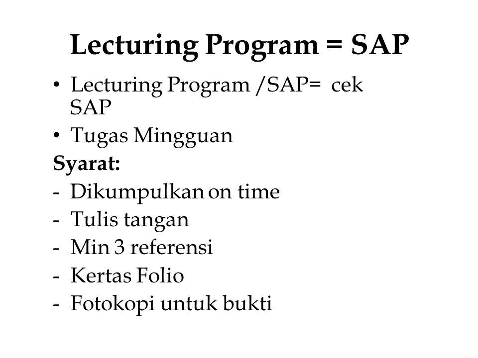 Lecturing Program = SAP