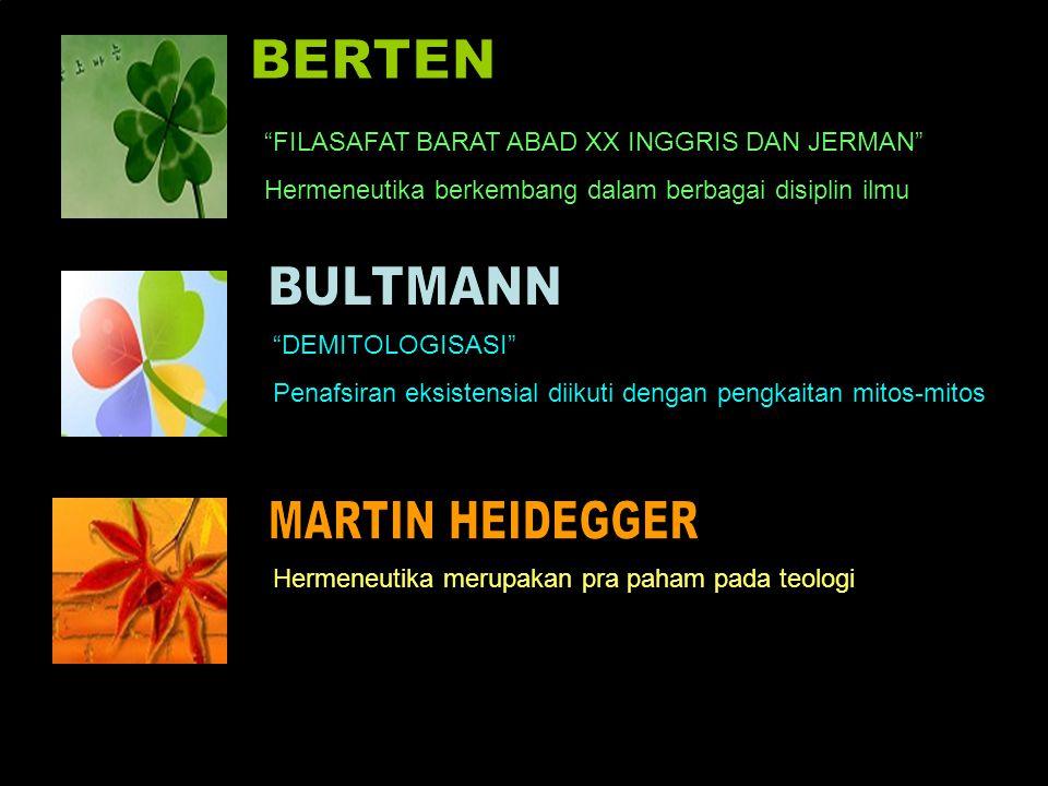BERTEN BULTMANN MARTIN HEIDEGGER