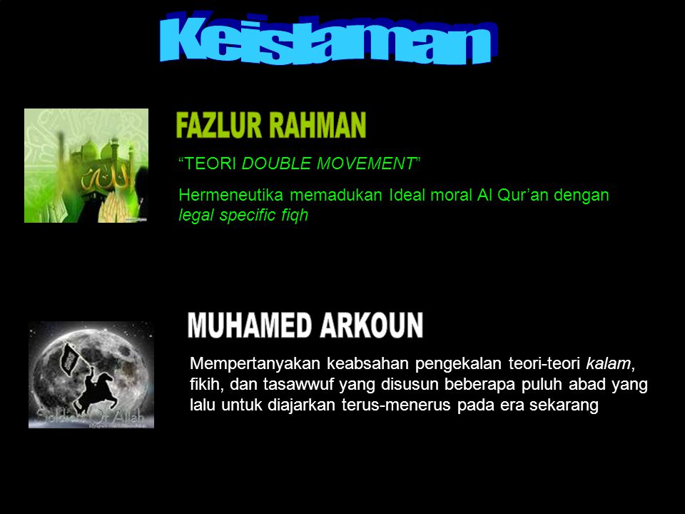 Keislaman FAZLUR RAHMAN MUHAMED ARKOUN TEORI DOUBLE MOVEMENT