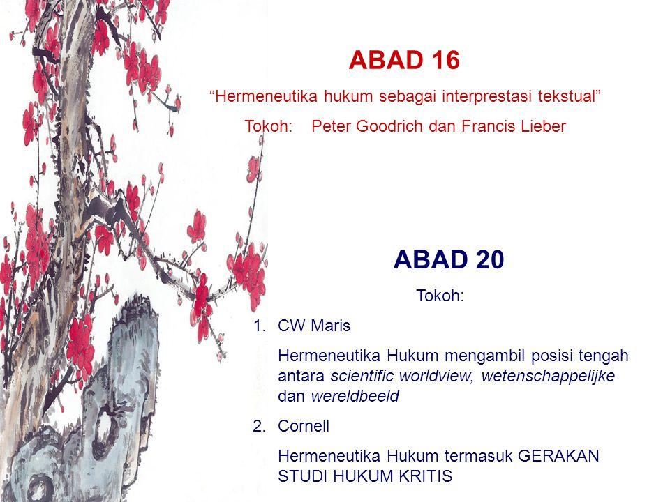 ABAD 16 ABAD 20 Hermeneutika hukum sebagai interprestasi tekstual