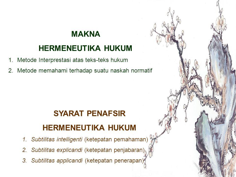MAKNA HERMENEUTIKA HUKUM SYARAT PENAFSIR HERMENEUTIKA HUKUM