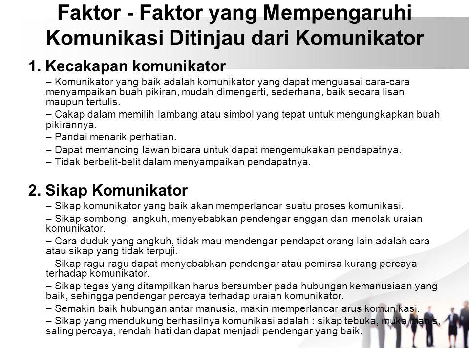 Faktor - Faktor yang Mempengaruhi Komunikasi Ditinjau dari Komunikator