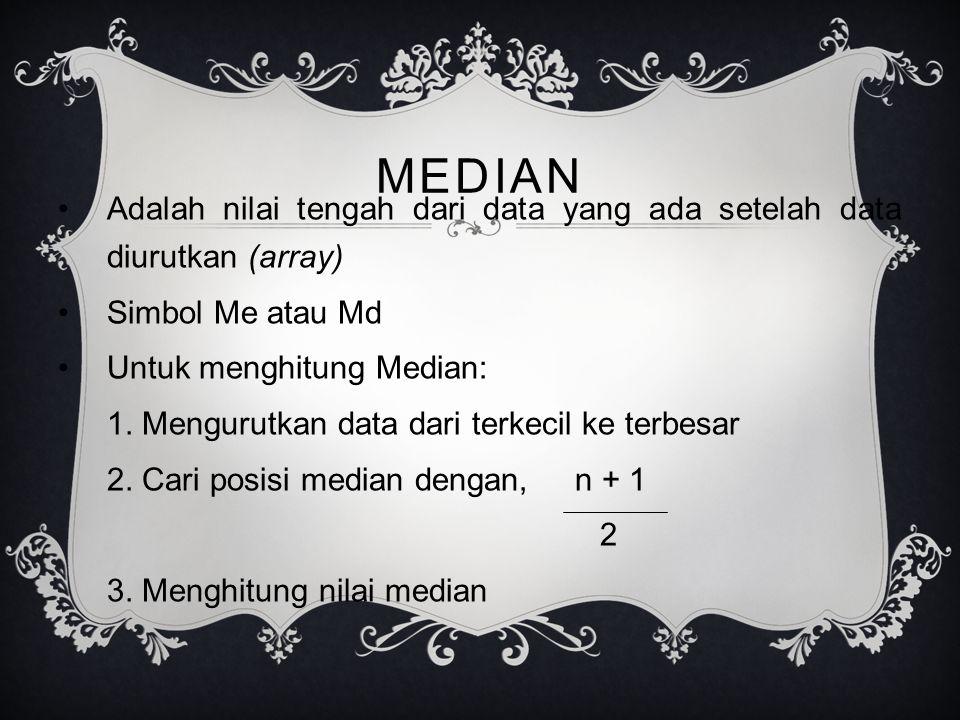 MEDIAN Adalah nilai tengah dari data yang ada setelah data diurutkan (array) Simbol Me atau Md. Untuk menghitung Median: