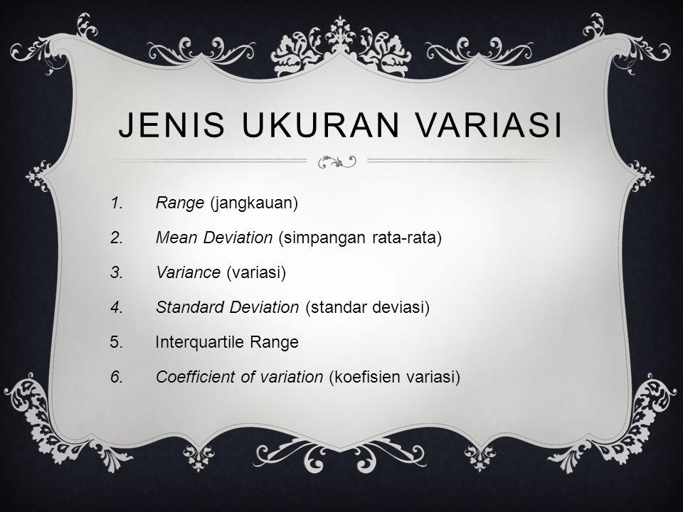 JENIS UKURAN VARIASI Range (jangkauan)