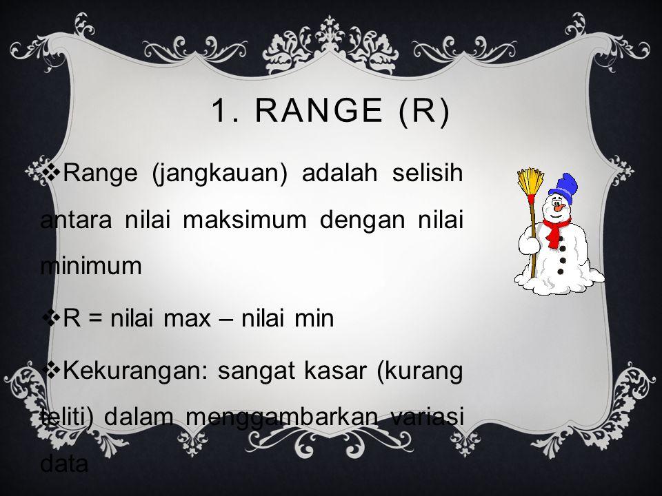 1. RANGE (R) Range (jangkauan) adalah selisih antara nilai maksimum dengan nilai minimum. R = nilai max – nilai min.