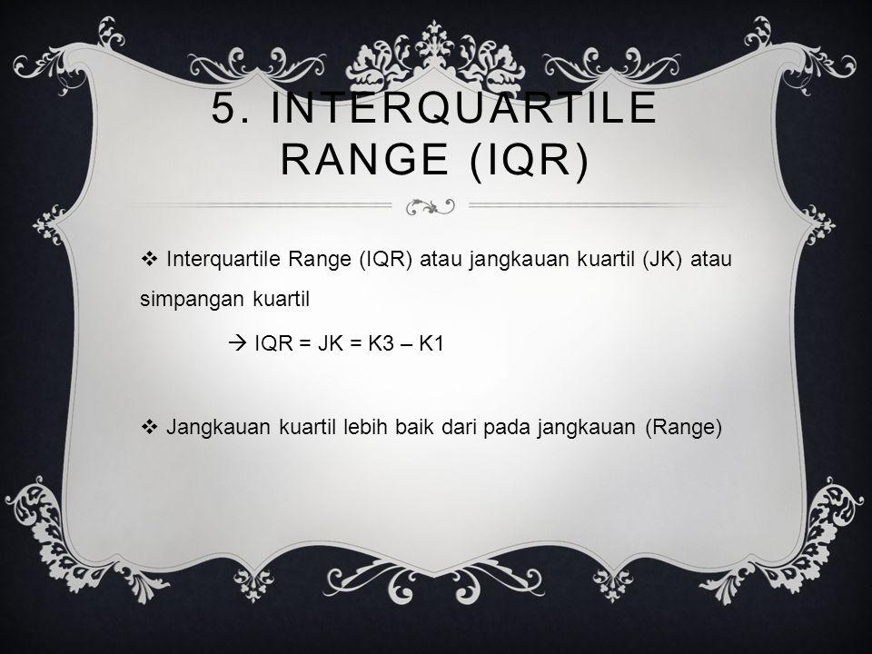 5. INTERQUARTILE RANGE (IQR)
