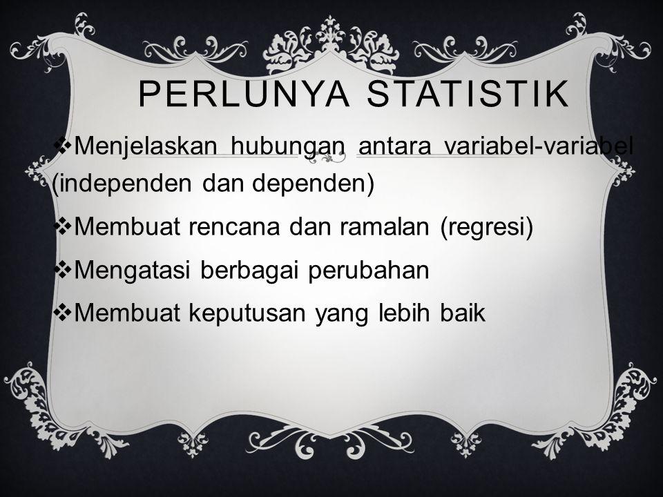PERLUNYA STATISTIK Menjelaskan hubungan antara variabel-variabel (independen dan dependen) Membuat rencana dan ramalan (regresi)